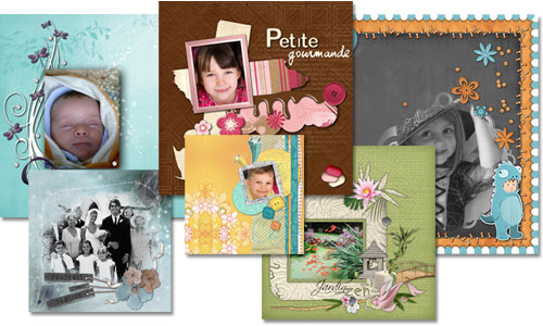 Pages de scrapbooking, exemple de mise en scène de photos